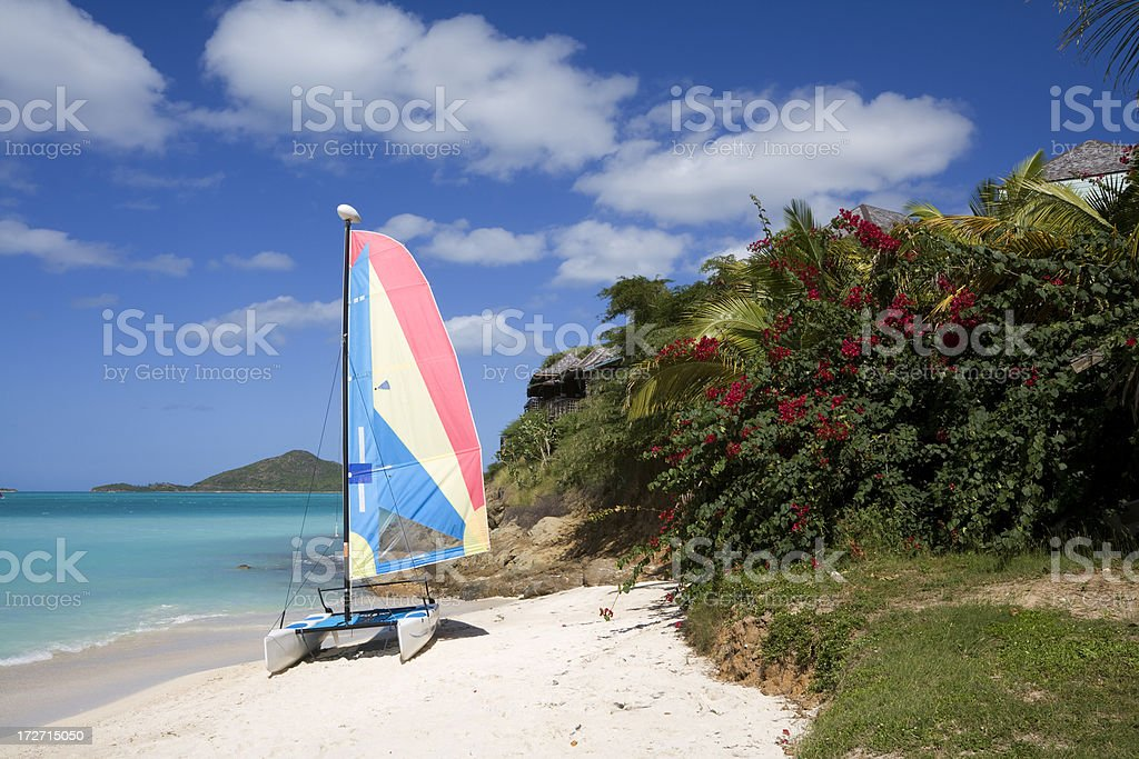 Tropical Beach with Catamaran stock photo