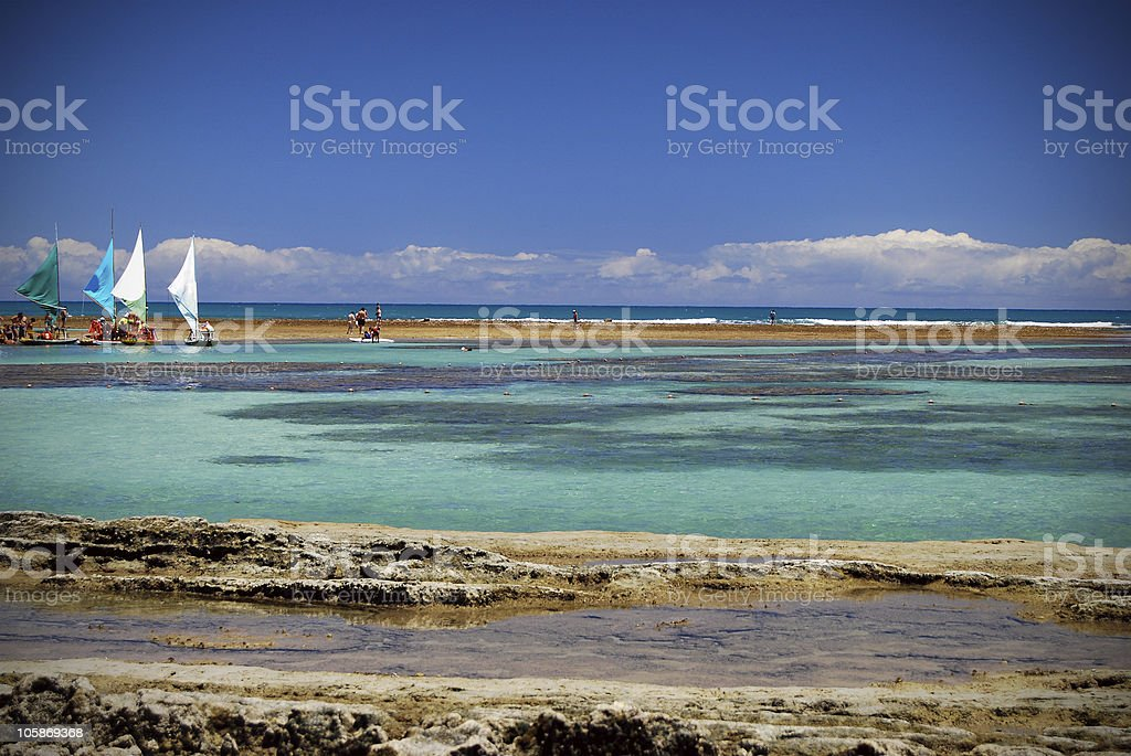 Tropical beach with docked sailboats in the background stock photo