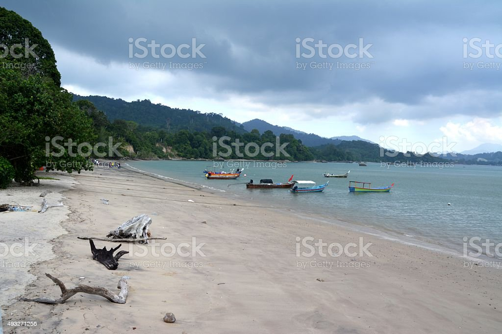Tropical beach with stormy day in Langkawi, Malaysia stock photo