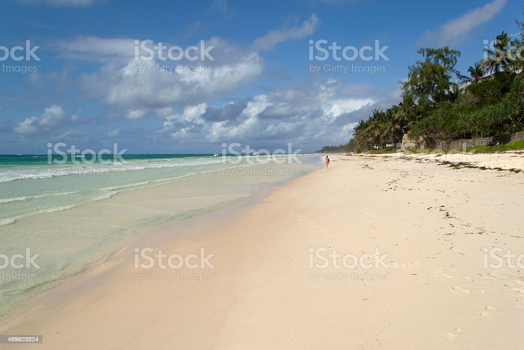 Tropical beach with white coral sand stock photo