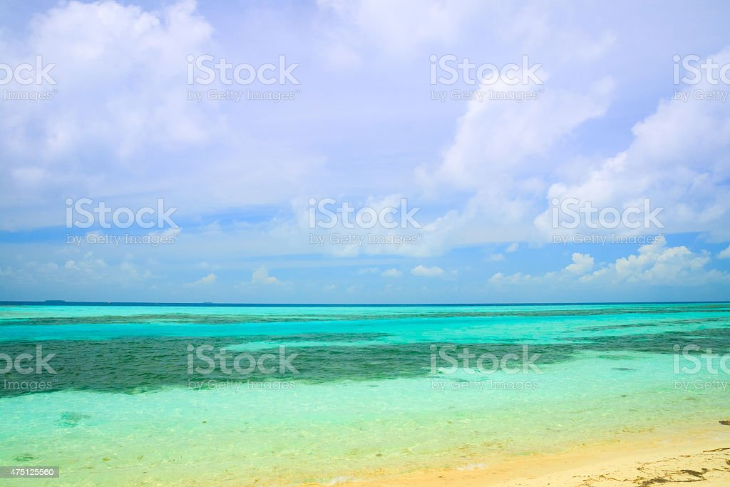 Tropical blue sea water stock photo