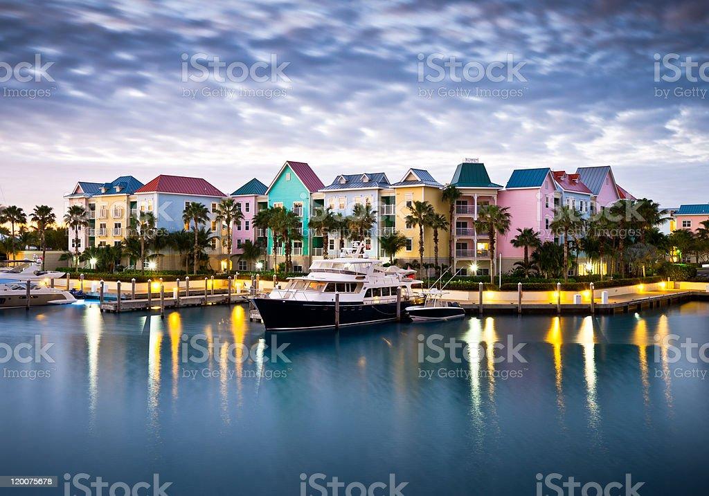 Tropical Caribbean Harbor Marina and Yacht stock photo