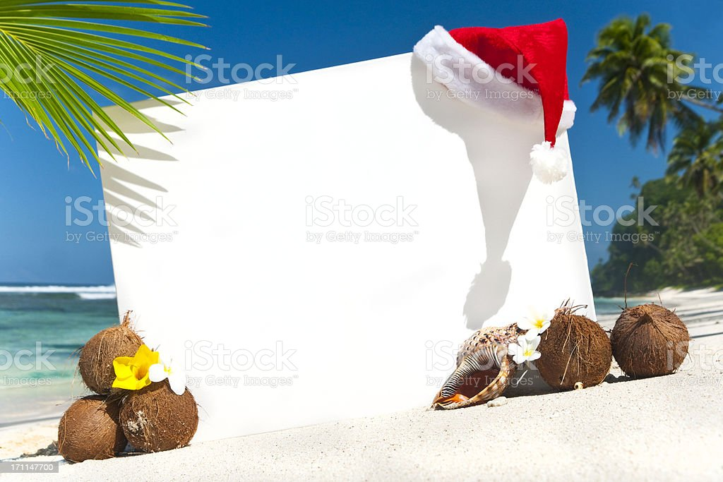 Tropical Christmas beach display with copy space royalty-free stock photo