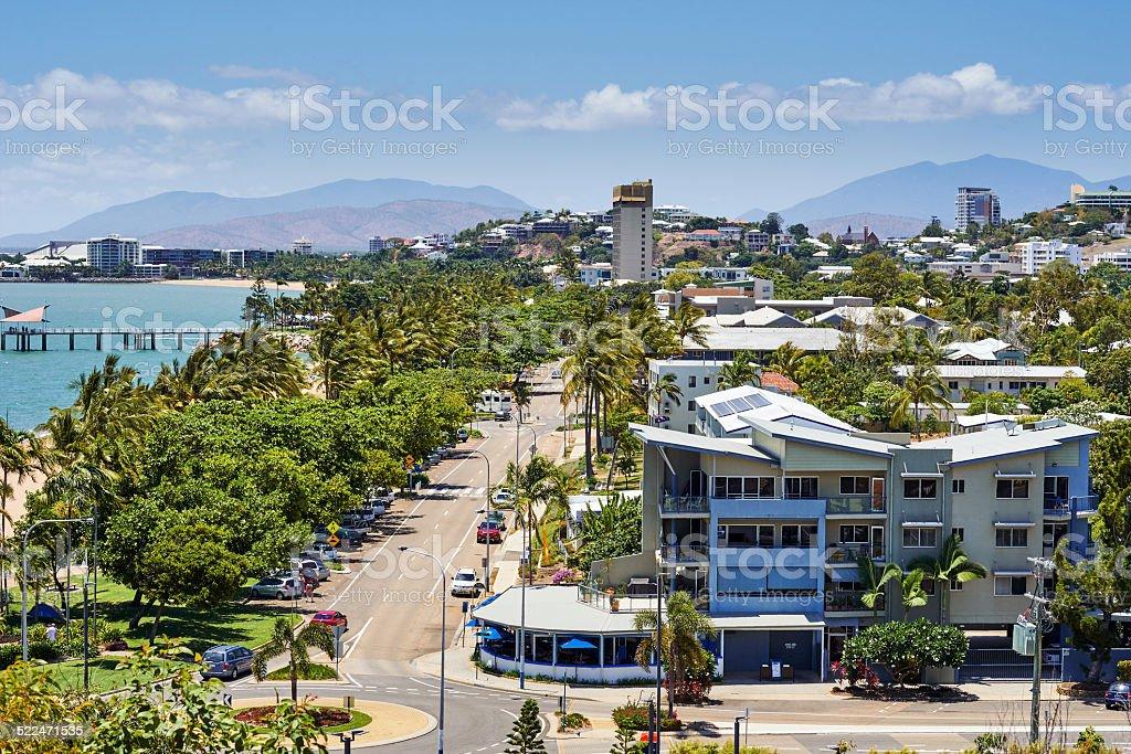 Tropical city bird view stock photo