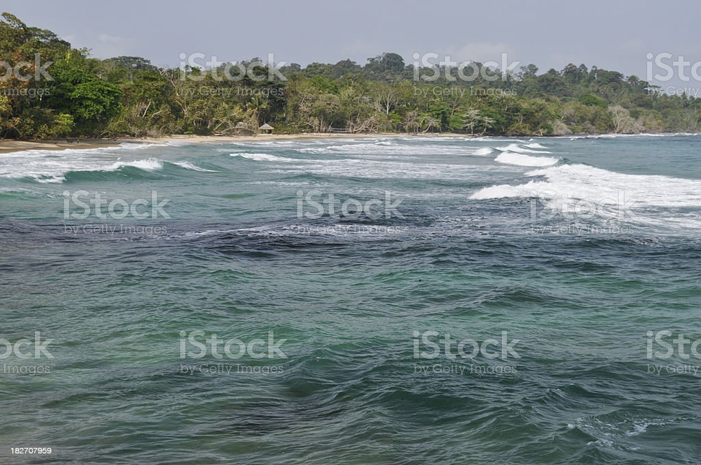 Tropical Coast and Beach Near Bocas Del Toro, Panama royalty-free stock photo