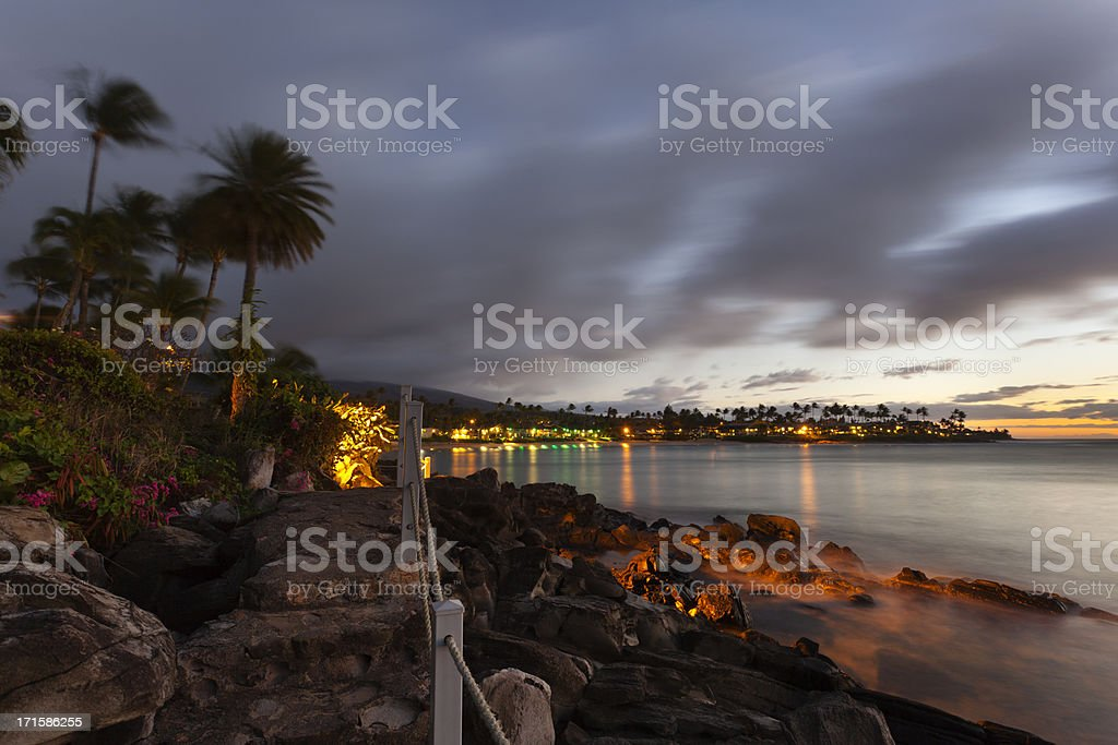 Tropical Coastline At Night stock photo