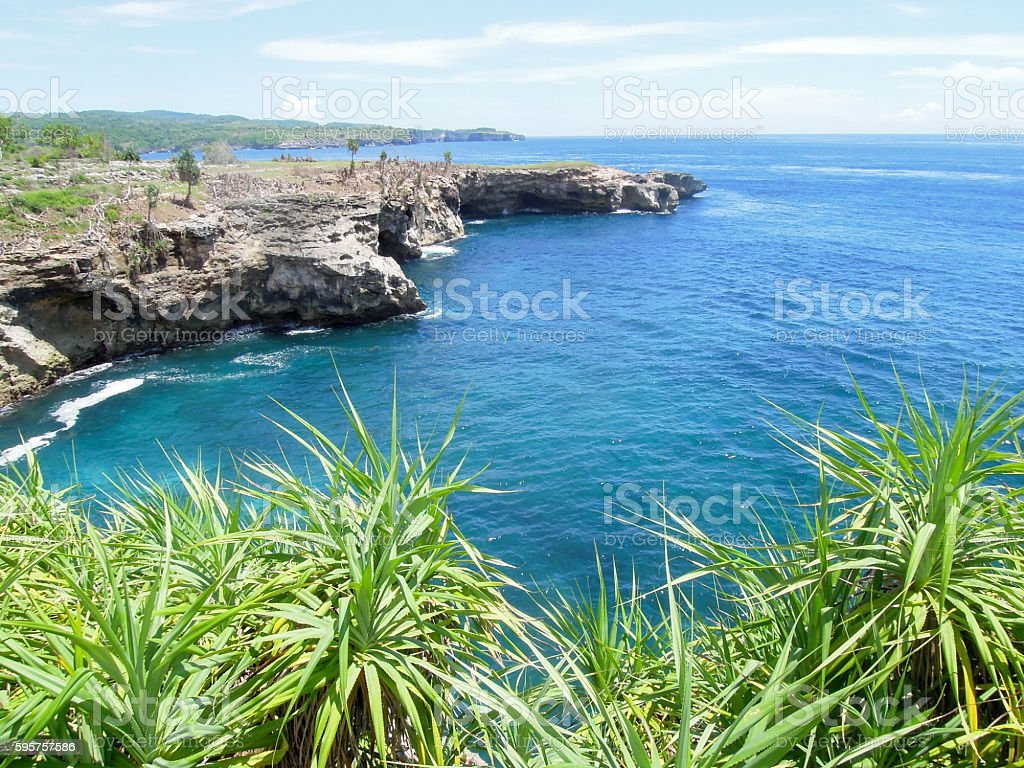 Tropical Coastline of Lembongan island stock photo