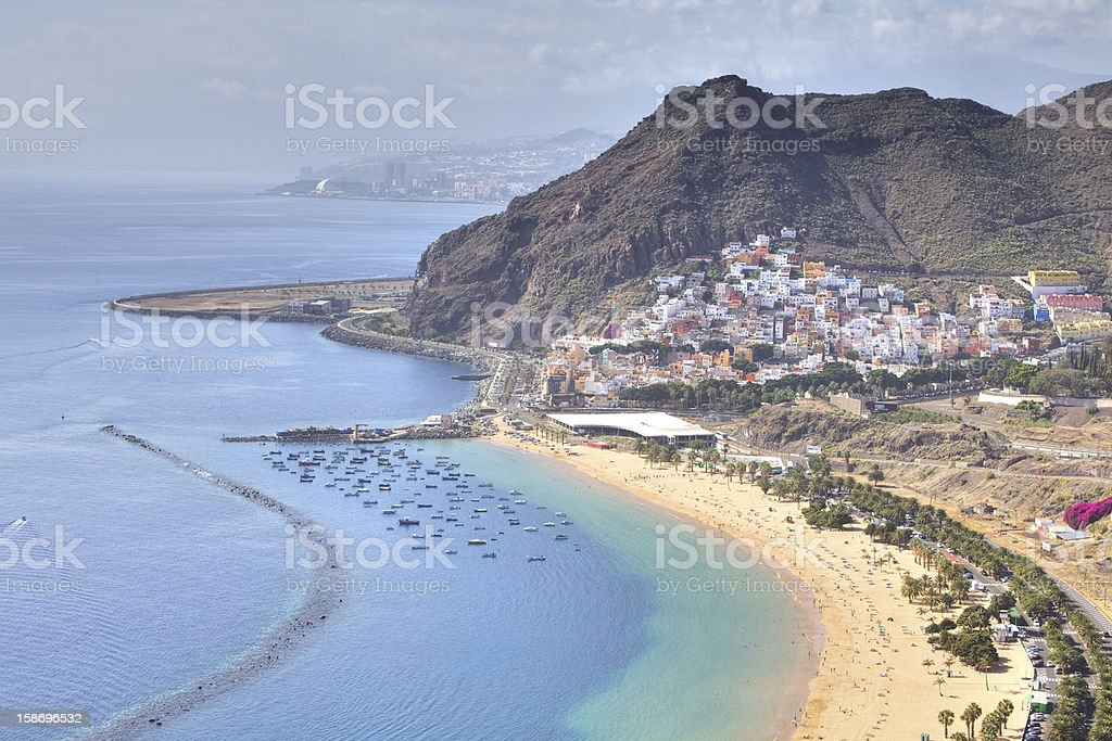 Tropical coastline with beach and mountains royalty-free stock photo