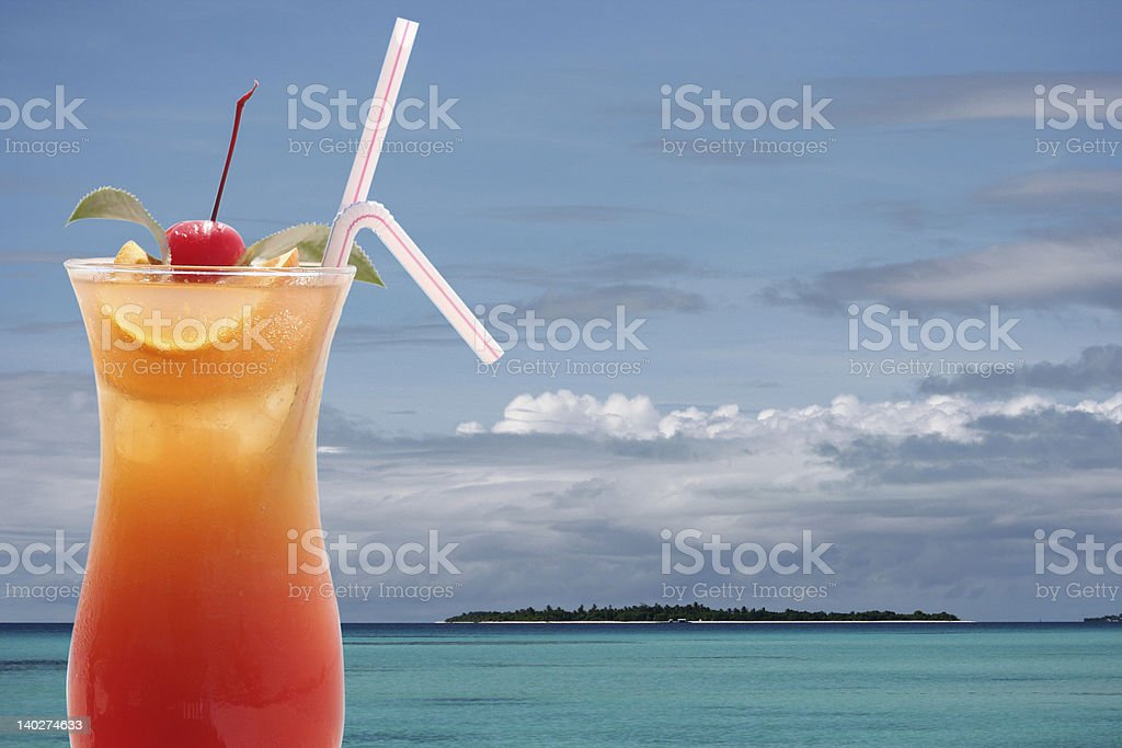 Tropical Cocktail and Island royalty-free stock photo