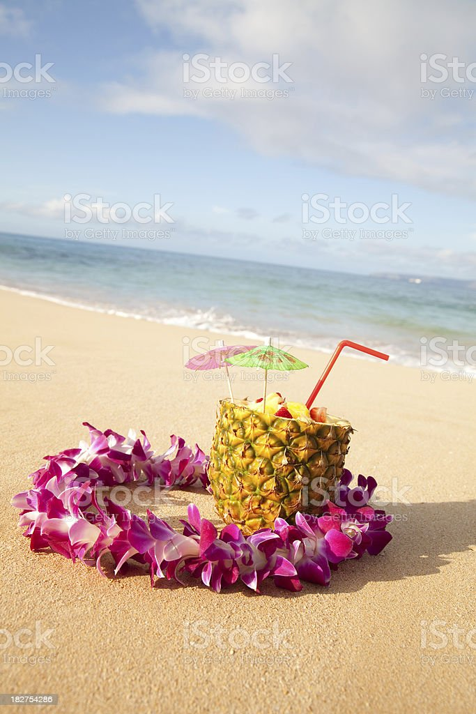 Tropical Cocktail In Pineapple royalty-free stock photo