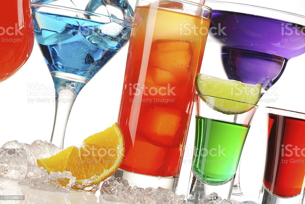 Tropical cocktails close-up royalty-free stock photo