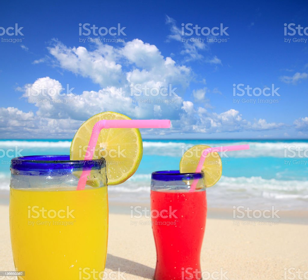 tropical cocktails in mayan riviera turquoise beach royalty-free stock photo
