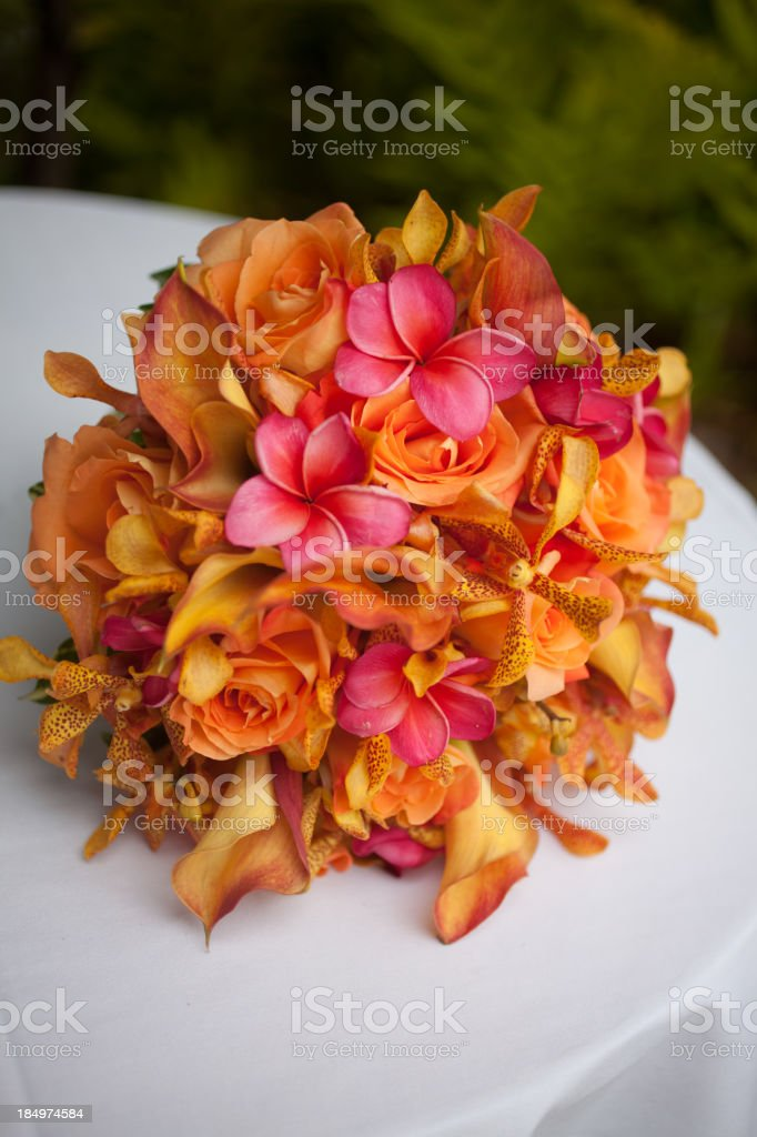 Tropical colorful bridal bouquet royalty-free stock photo