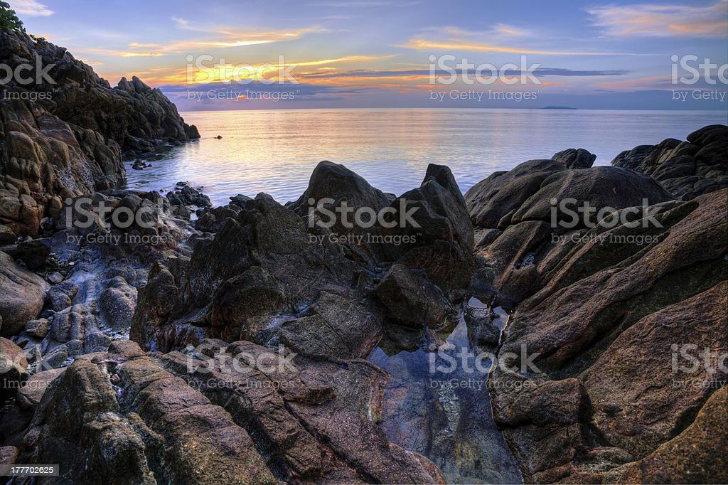 Tropical colorful sunset. royalty-free stock photo