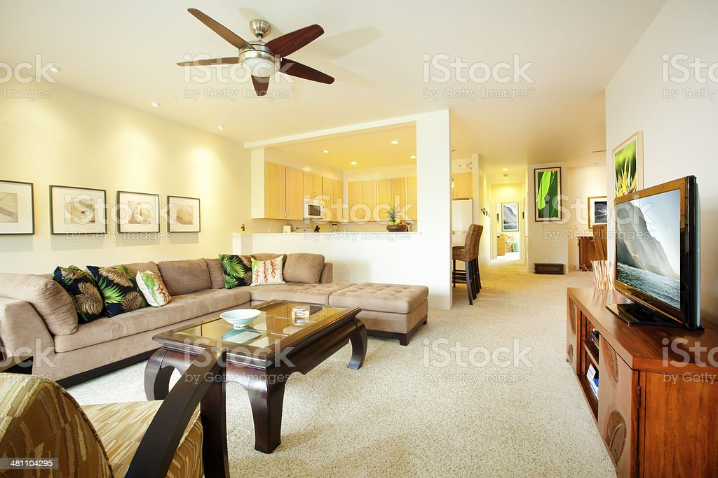 Tropical Condo Interior - Living Room stock photo