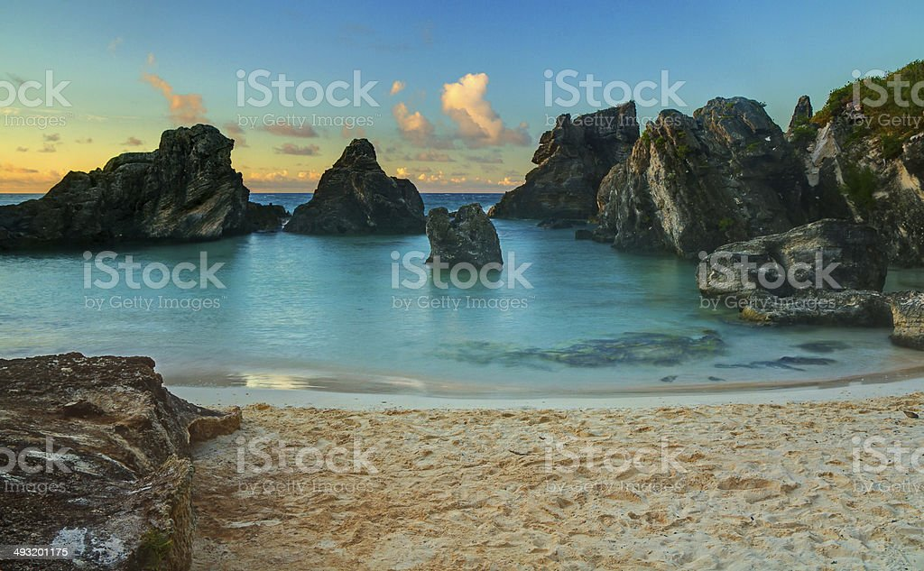 Tropical Cove at Sunrise stock photo