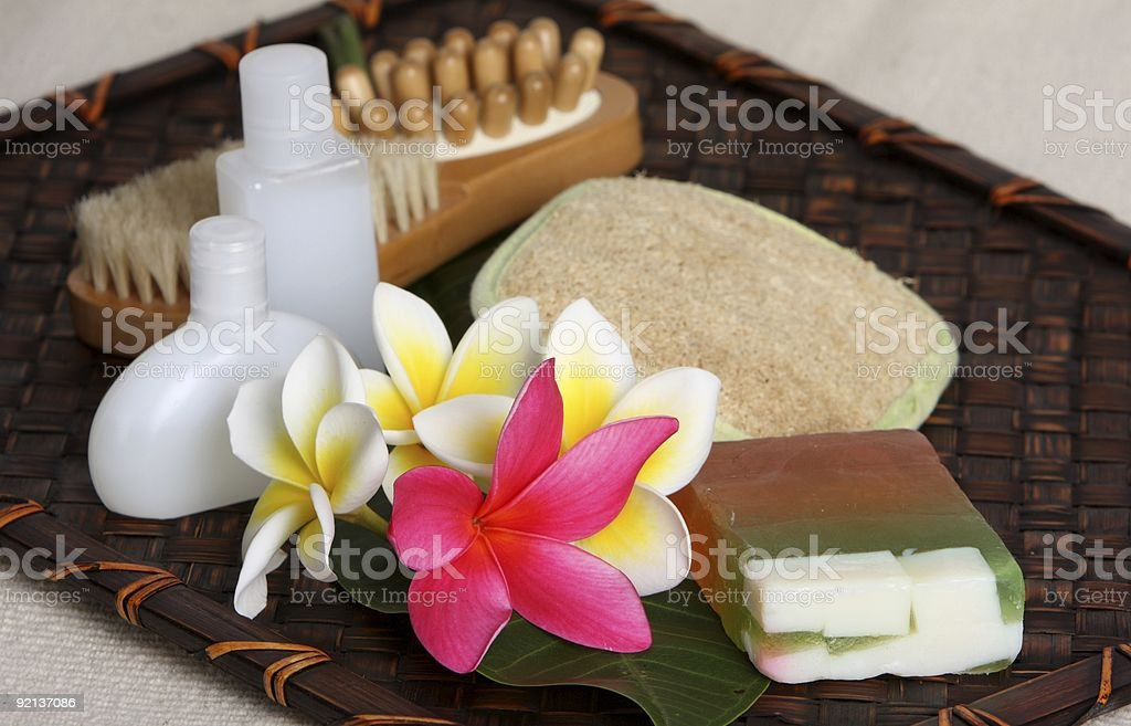 Tropical Day Spa Beauty Products royalty-free stock photo