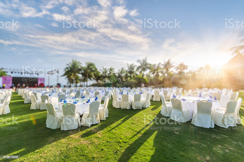 Tropical Dinner Event stock photo