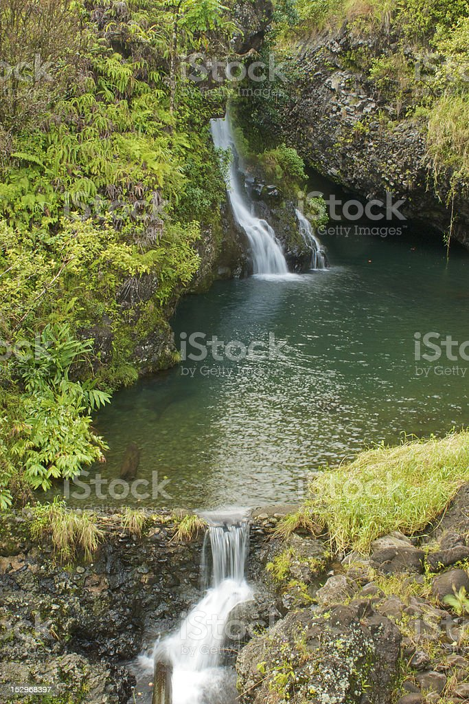 Tropical double waterfall royalty-free stock photo