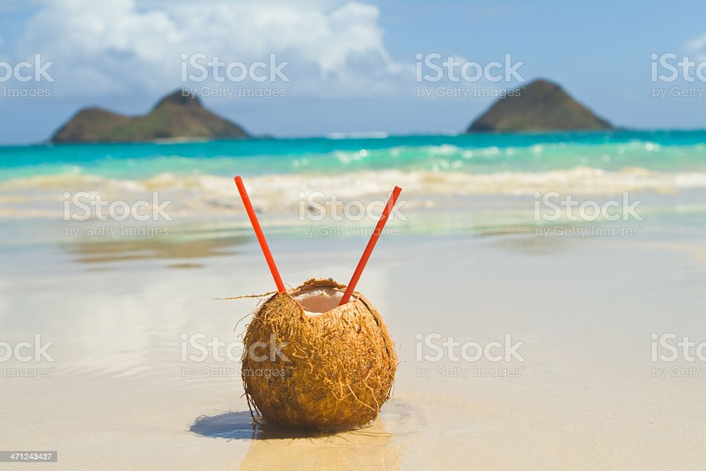 Tropical Drink on the beach stock photo