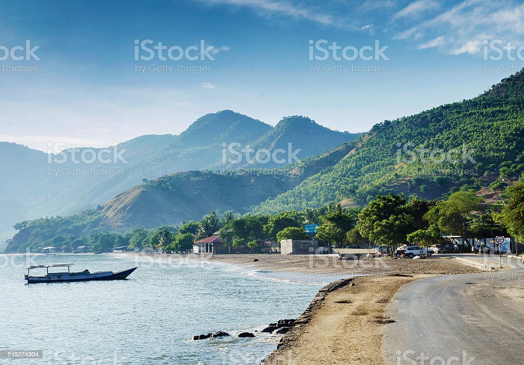tropical exotic coastline beach of dili in east timor stock photo