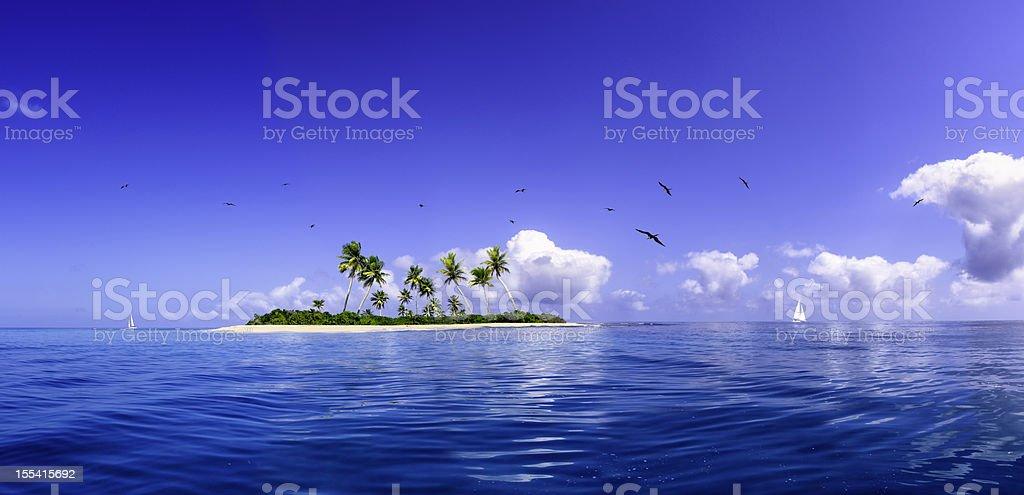 Tropical fantasy island in the Caribbean Sea stock photo