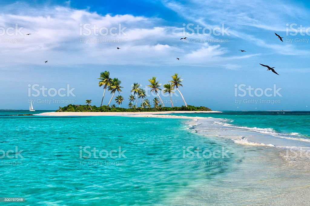 Tropical fantasy island in the Caribbean Sea stock photo
