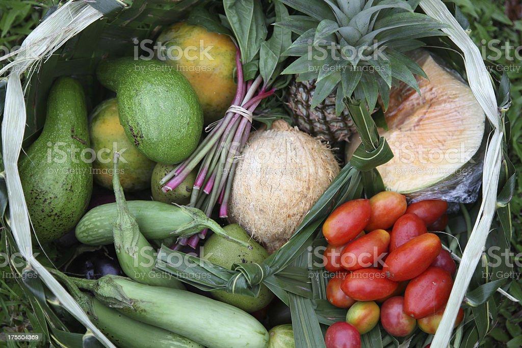Tropical food basket stock photo
