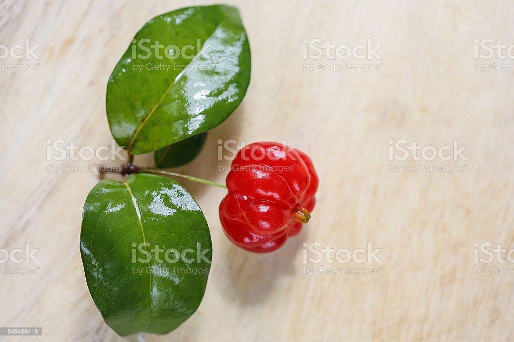 Tropical fruit also called Pitanga, Brazilian Cherry, Suriname C stock photo