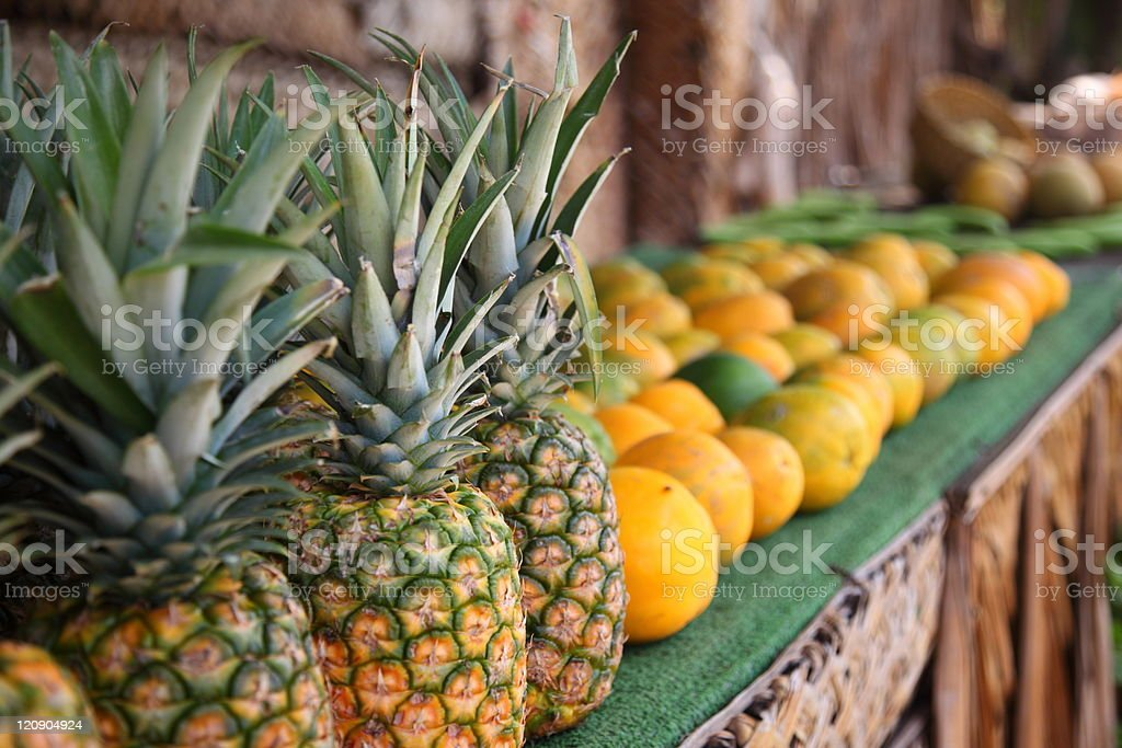 Tropical fruit at roadside stand, Oahu, Hawaii royalty-free stock photo