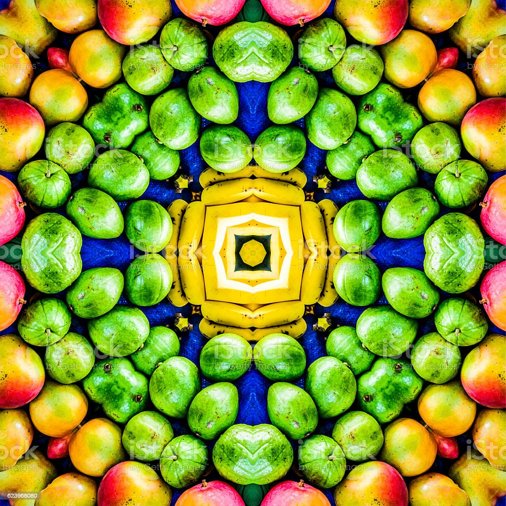 Tropical Fruit Mandala stock photo