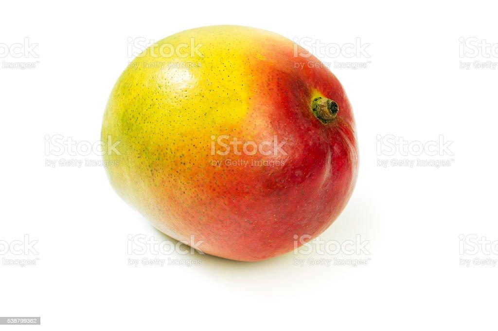 Tropical Fruit Mango, an Organic, Fresh, Ripe Food on White stock photo