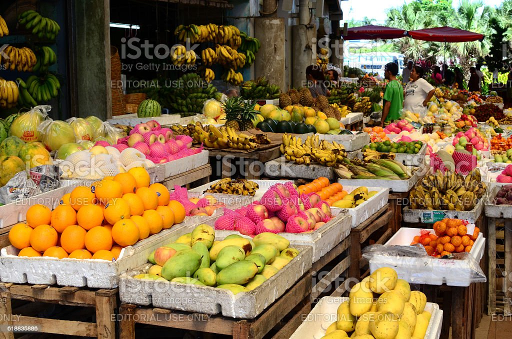 Tropical Fruit Market Stand in public market stock photo