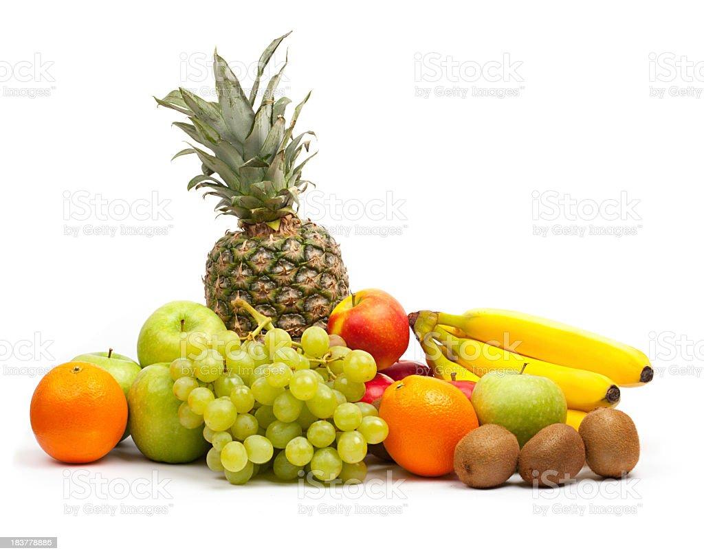 Tropical fruit mix isolated on white background royalty-free stock photo