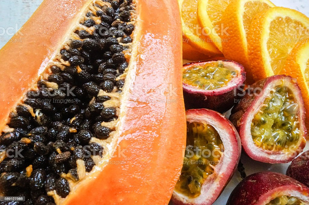 Tropical fruit plate stock photo