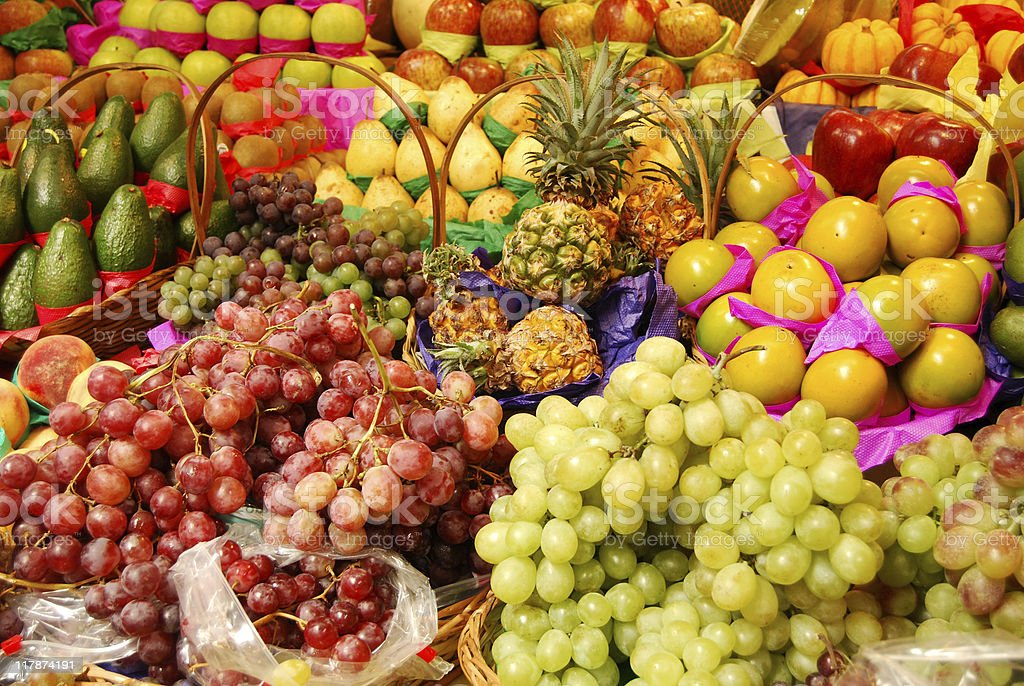 Tropical fruits background stock photo