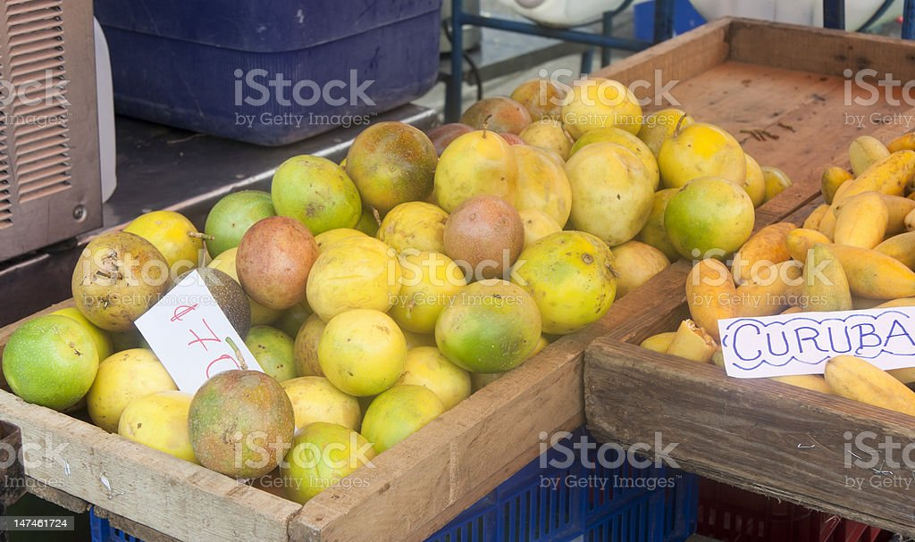 Tropical fruits on market in San Jose, Costa Rica stock photo