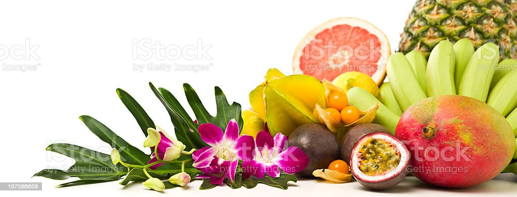 Tropical fruits panorama stock photo