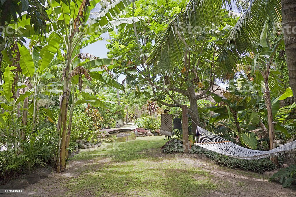 Tropical Garden with Hammock royalty-free stock photo