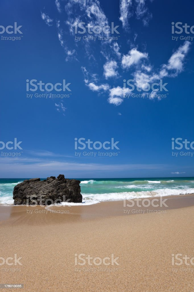 Tropical golden sand beach in the Caribbean royalty-free stock photo