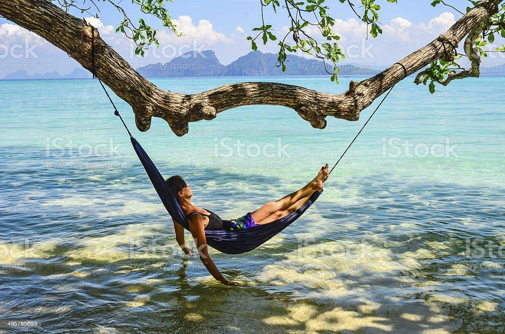 Tropical Hammock Paradise stock photo