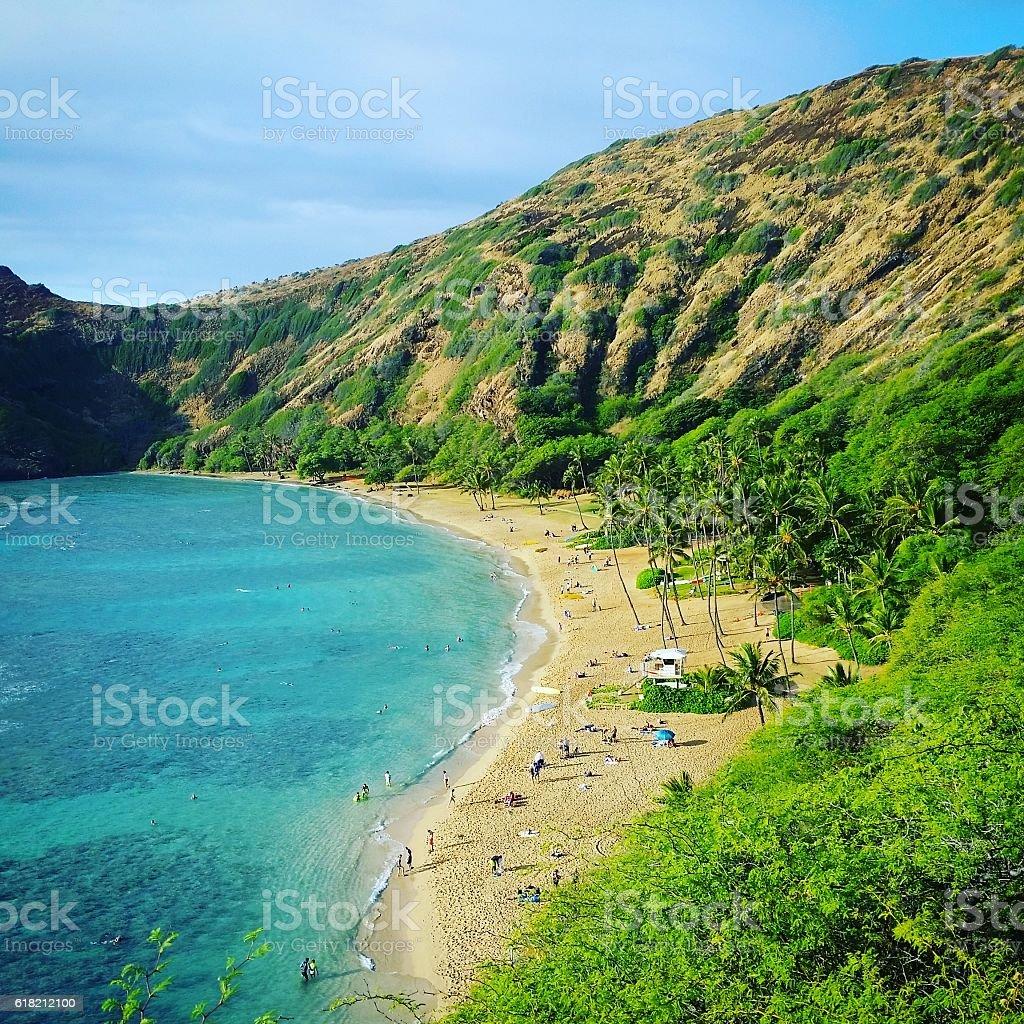 Tropical Hawaii Travel Destinations Hanauma Bay Oahu Island stock photo