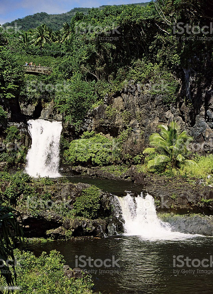 Tropical Hawaii waterfalls at Oheo gulch royalty-free stock photo