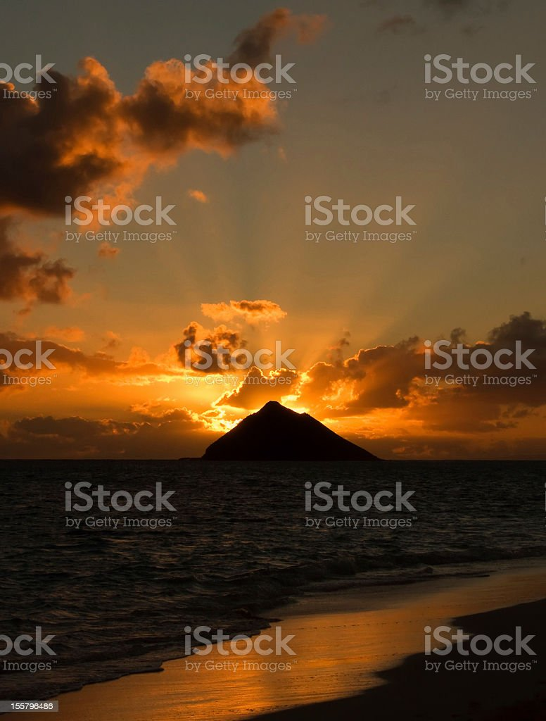Tropical Hawaiian sunrise royalty-free stock photo