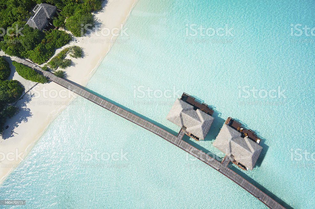 tropical hideaway from above stock photo
