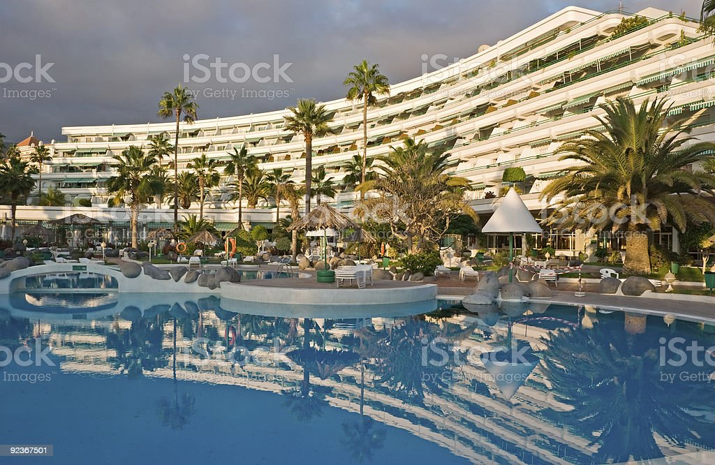 Tropical hotel stock photo