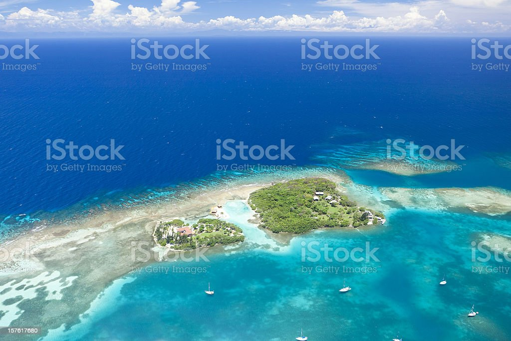 Tropical island aerial view royalty-free stock photo