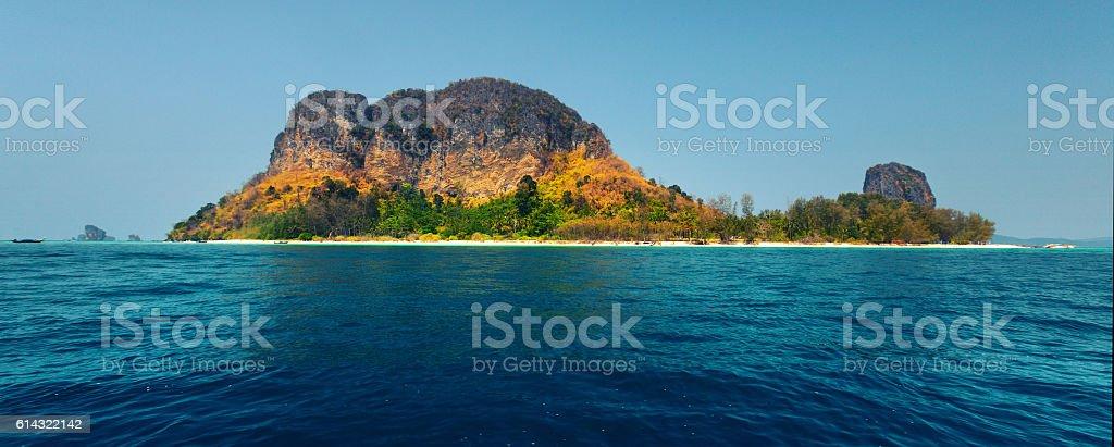 Tropical island and blue sea stock photo
