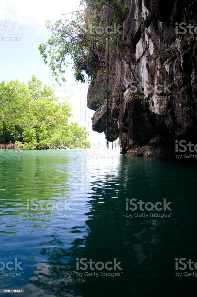 Tropical island and underground river. stock photo