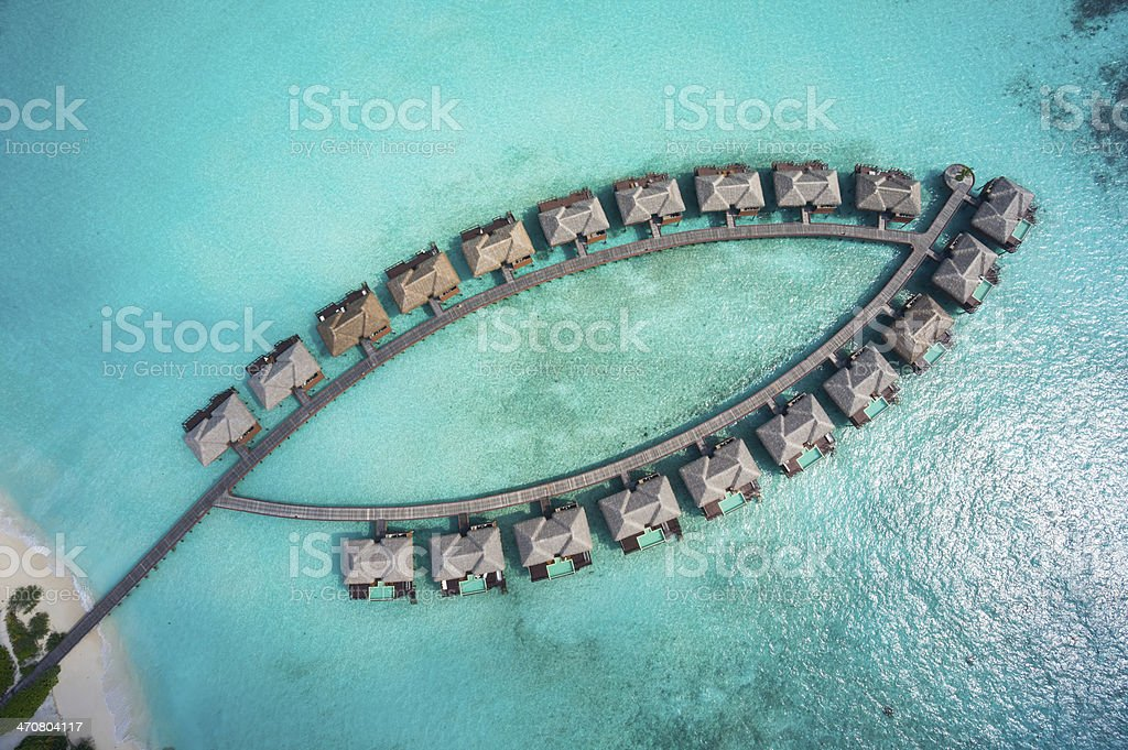 tropical island architecture topview aerial stock photo